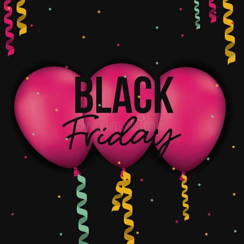 El cartel negro de viernes con tres globos magentas con las cintas decorativas en fondo negro del color con colores protagoniza stock de ilustración