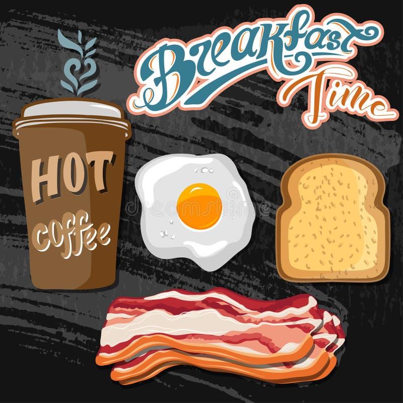El cartel retro del desayuno del anuncio clásico del motel con la tostada del tocino y los huevos fritos vector el ejemplo ilustración del vector