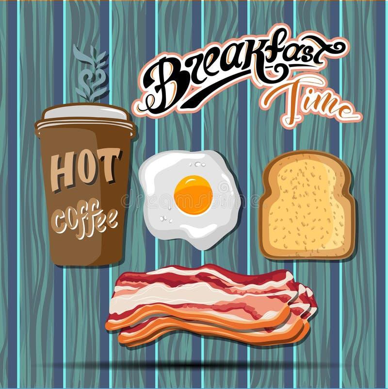 El cartel retro del desayuno del anuncio clásico del motel con la tostada del tocino y los huevos fritos vector el ejemplo libre illustration