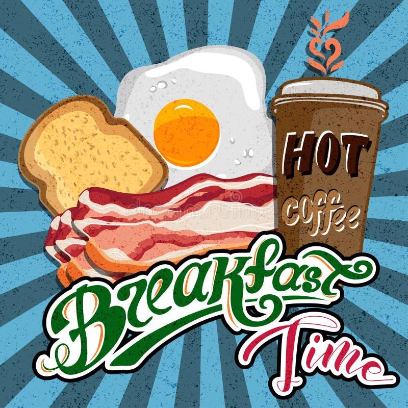 El cartel retro del desayuno del anuncio clásico del motel con la tostada del tocino y los huevos fritos vector el ejemplo stock de ilustración