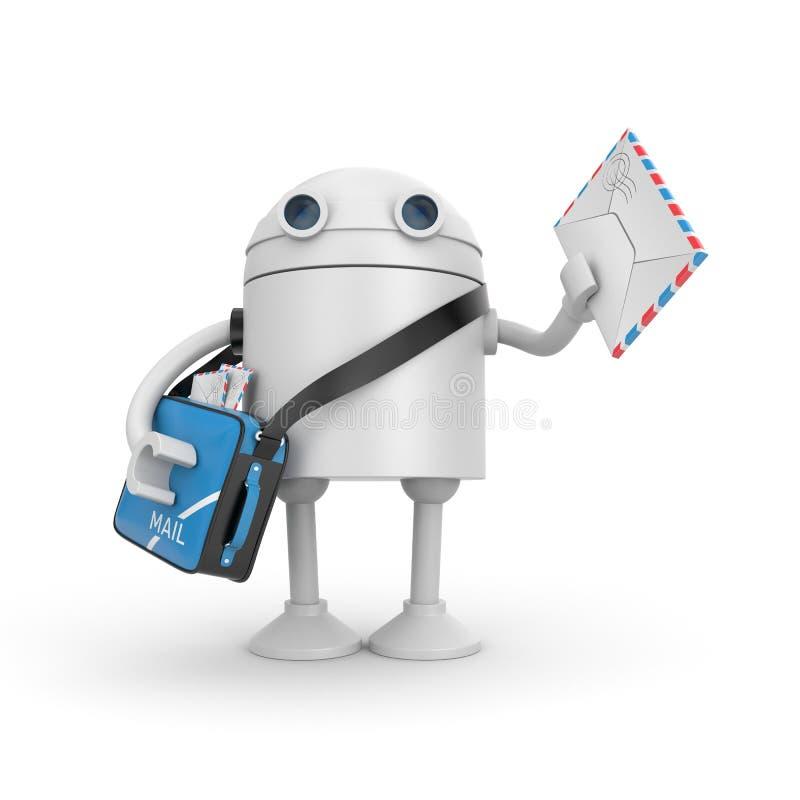 El cartero del robot trajo una letra ilustración del vector