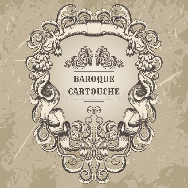 El cartouche antiguo y barroco adorna el marco Elementos arquitectónicos del diseño de detalles del vintage libre illustration