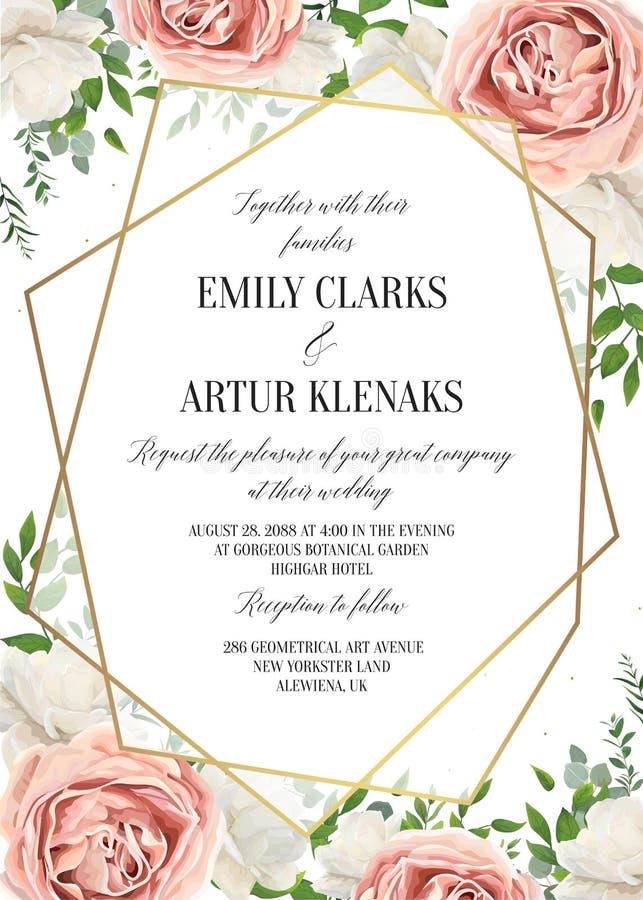 El casarse floral invita, diseño de tarjeta del invtation La acuarela se ruboriza p ilustración del vector