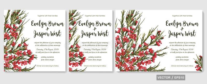 El casarse invita a diseño floral del vector de la tarjeta del menú de la invitación: beauti stock de ilustración