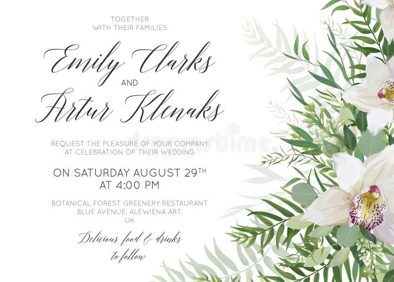 El casarse invita a reserva el diseño delicado de la tarjeta de fecha con la orca blanca ilustración del vector