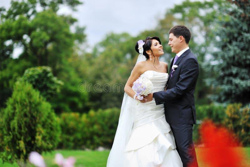 El casarse. Retrato joven feliz de novia y del novio fotos de archivo