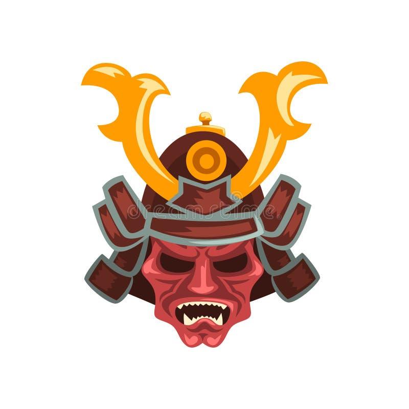 El casco antiguo de la guerra del guerrero del samurai con los cuernos vector el ejemplo en un fondo blanco libre illustration