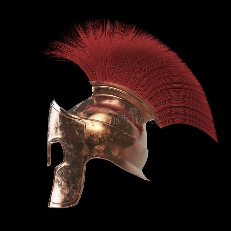 el casco espartano de alta calidad, gladiador romano griego del guerrero, soldado heroico del legionario, fan de los sprts rinde  libre illustration