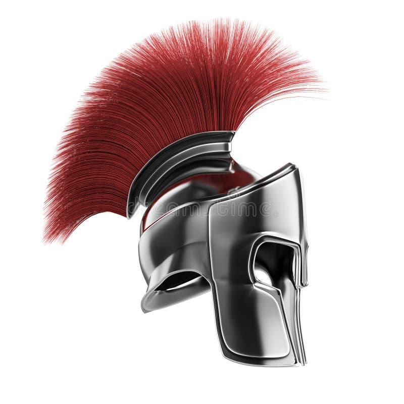 el casco espartano de alta calidad, gladiador romano griego del guerrero, soldado heroico del legionario, fan de los sprts rinde  stock de ilustración