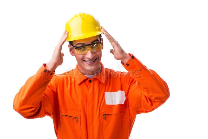 El casco que lleva del trabajador de construcción aislado en blanco fotografía de archivo libre de regalías