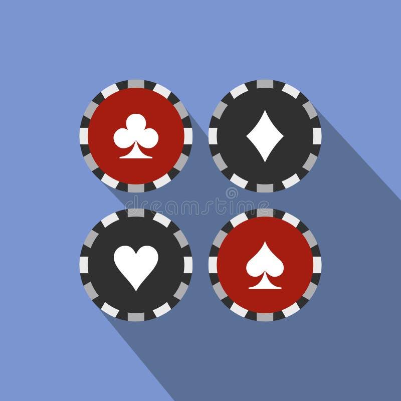 El casino del traje de la tarjeta salta el icono plano stock de ilustración