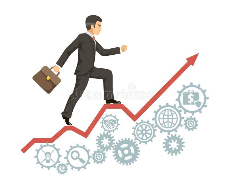El caso de agregado experimentado confiado fuerte del traje de negocios del hombre de negocios va éxito que la flecha infographic ilustración del vector
