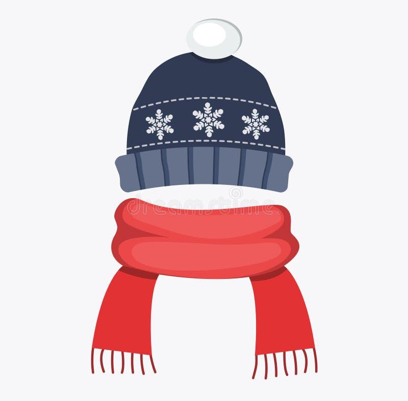 El casquillo del sombrero del invierno con diseño plano del copo de nieve y de la bufanda roja del pompom vector el ejemplo foto de archivo libre de regalías