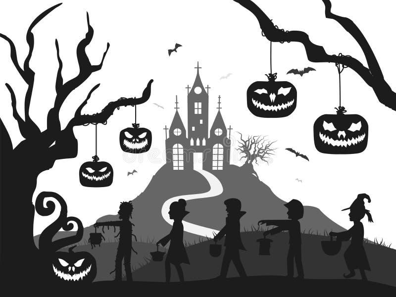 El castillo, calabaza, traje embroma, árbol, silueta de Halloween del palo blanco y negro libre illustration