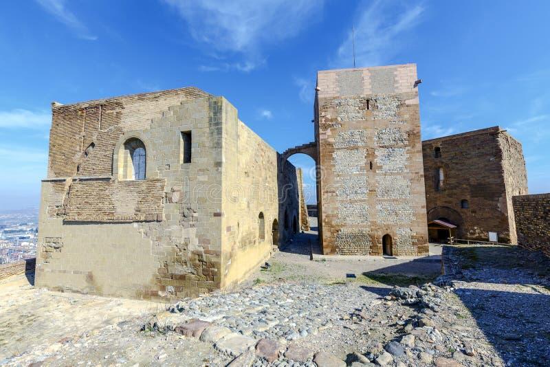 El castillo de Templar de Monzon Del origen árabe Huesca del siglo X España imagen de archivo libre de regalías