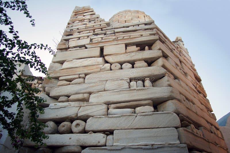 el castillo Frankish en Parikia, en la isla de Paros imagenes de archivo