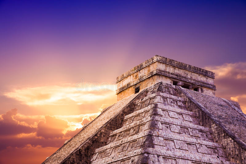 El Castillo pyramid in Chichen Itza, Yucatan, Mexico royalty free stock image