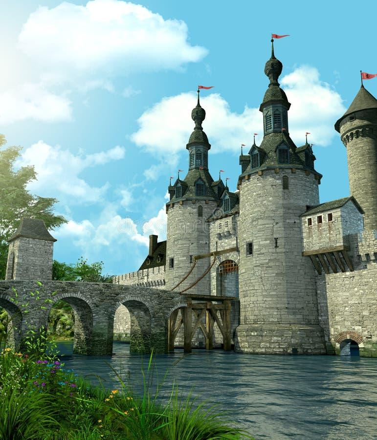 El castillo romántico de la fantasía protegió por una fosa imagen de archivo libre de regalías