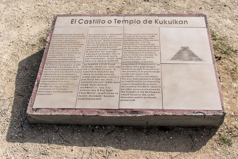 El Castillo Temple of Kukulkan pyramid info blackboard Chichen Itza Yucatan Mexico. El Castillo or Temple of Kukulkan pyramid info blackboard Chichen Itza stock photos