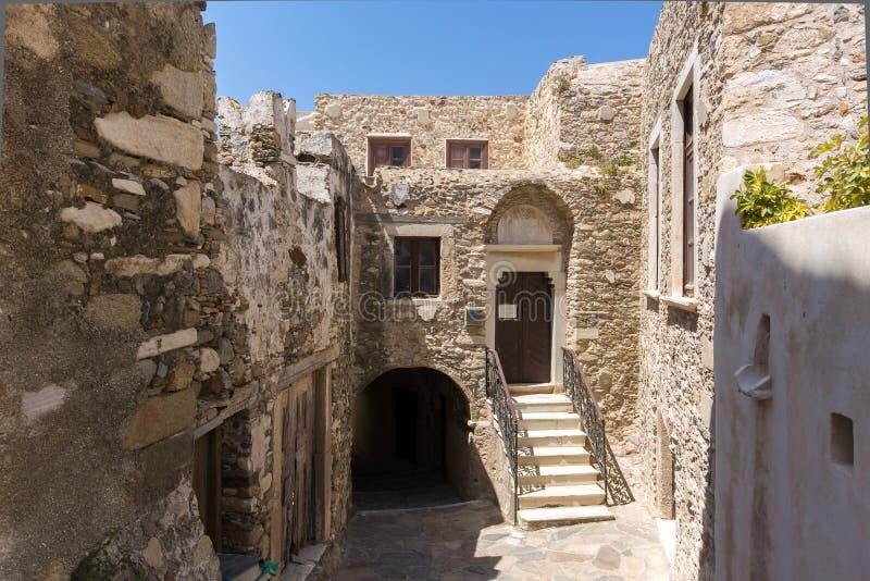 El castillo veneciano en la isla de Naxos, Cícladas imagenes de archivo
