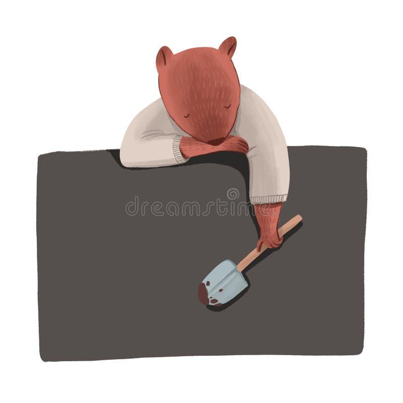 El castor como ser humano en la camisa que sostiene una pala del jardín y que duerme en tablero negro se aísla en el fondo blanco ilustración del vector