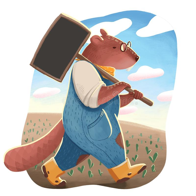 El castor como ser humano en los vidrios y el uniforme que sostienen un letrero negro para el jardín y que van en el campo stock de ilustración