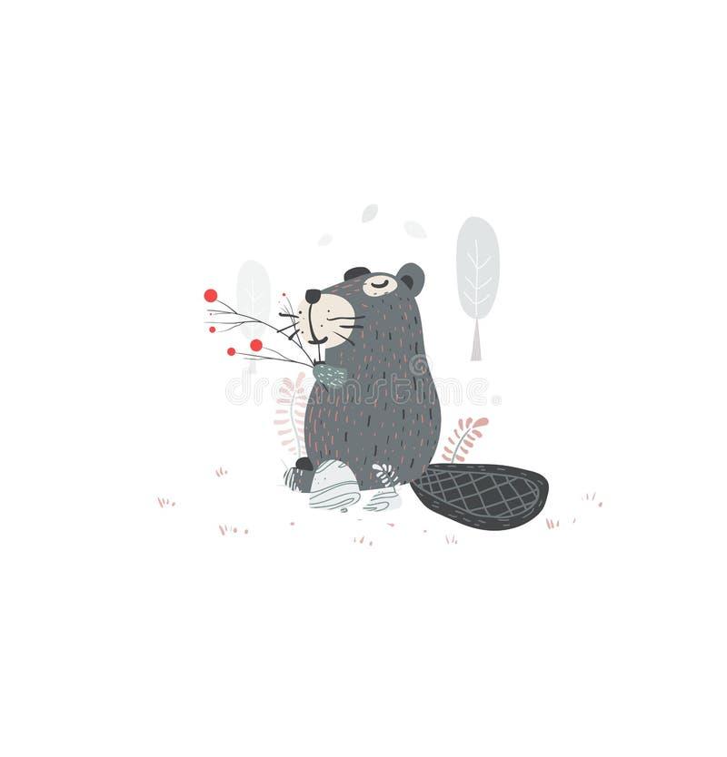 El castor lindo, ejemplo del vector para usted proyecta stock de ilustración