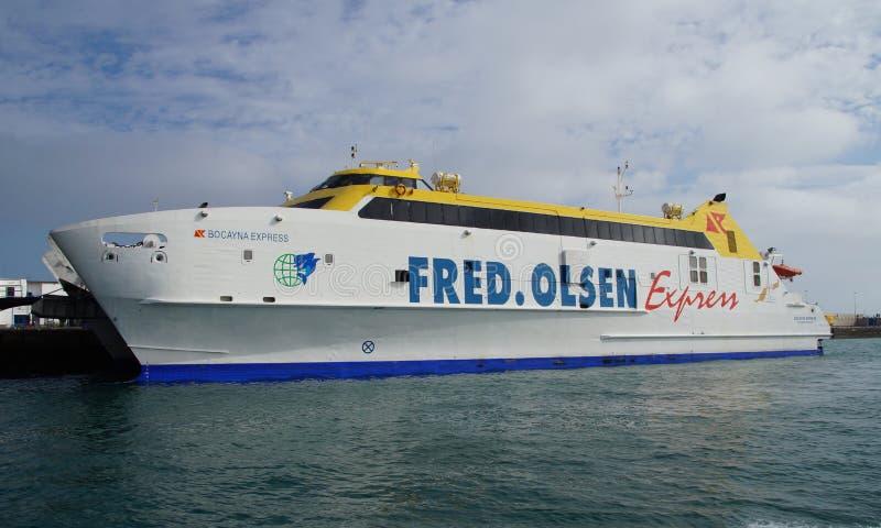 El catamarán expreso Fred de HSC Bocayna olsen imagen de archivo libre de regalías