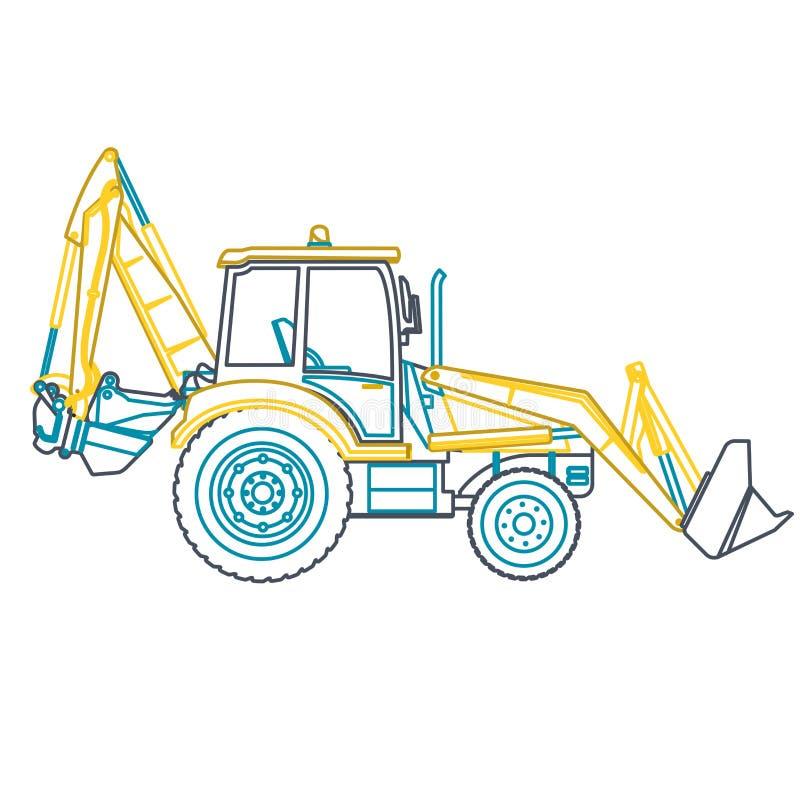 El cavador grande del esquema amarillo azul construye los caminos en blanco stock de ilustración