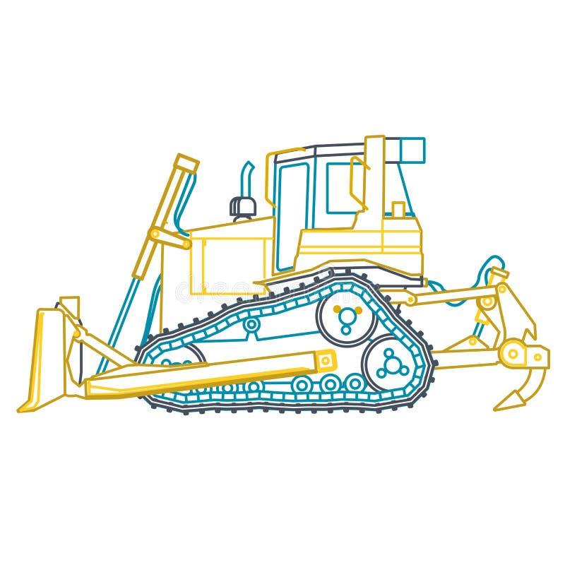 El cavador grande del esquema amarillo azul construye los caminos en blanco Excavación de la tierra Maquinaria pesada stock de ilustración