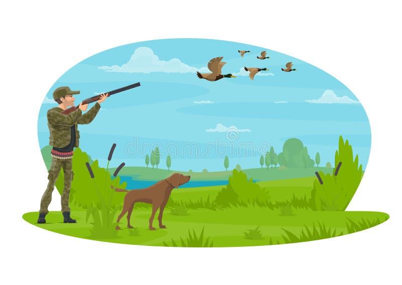 El cazador y la caza para el cartel del vector de los patos diseñan ilustración del vector