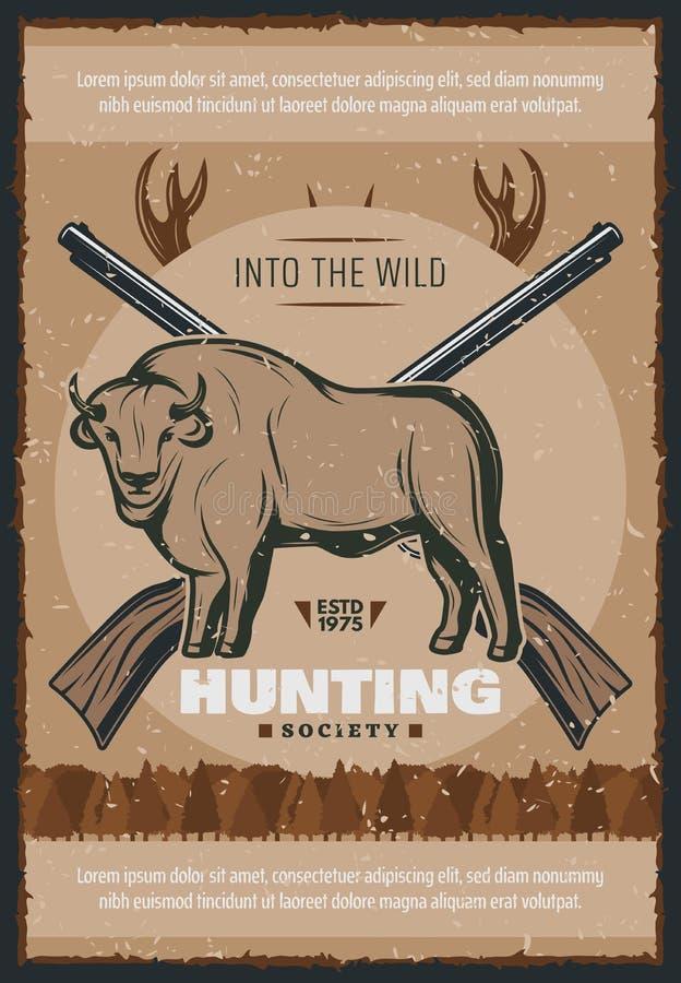 El cazador y la caza para el cartel del vector del toro diseñan ilustración del vector