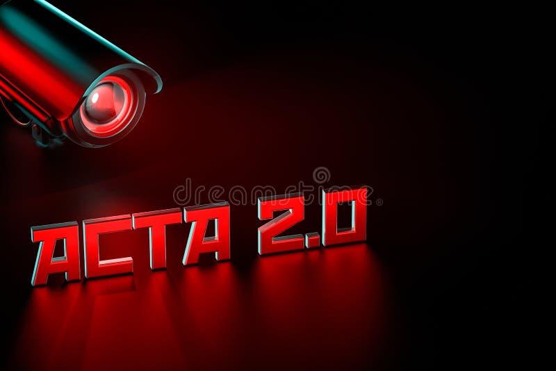 El CCTV hostil está guardando el ojo en el ACTA 2 0 muestras La regulación unida de Europa Parlament que puede cambiar Internet c ilustración del vector