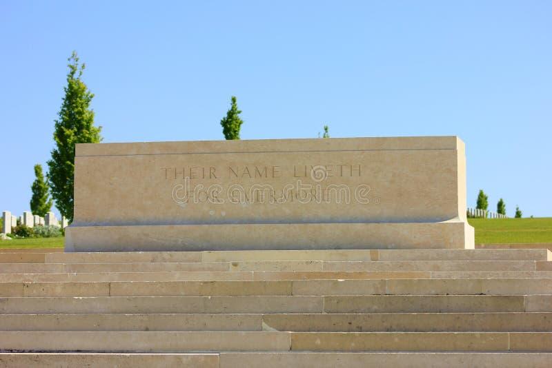 El cementerio austalian del fisrt worldwar en el bretonneux de los villers en Picardía imagen de archivo libre de regalías
