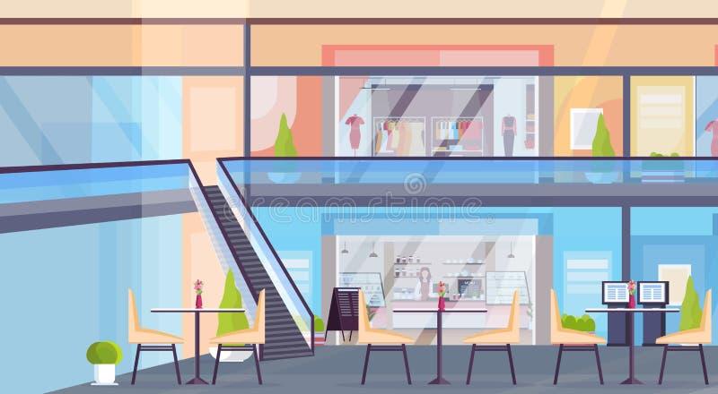 El centro comercial al por menor moderno con la tienda del boutique de la ropa y la cafetería no vacian ningún interior del super stock de ilustración