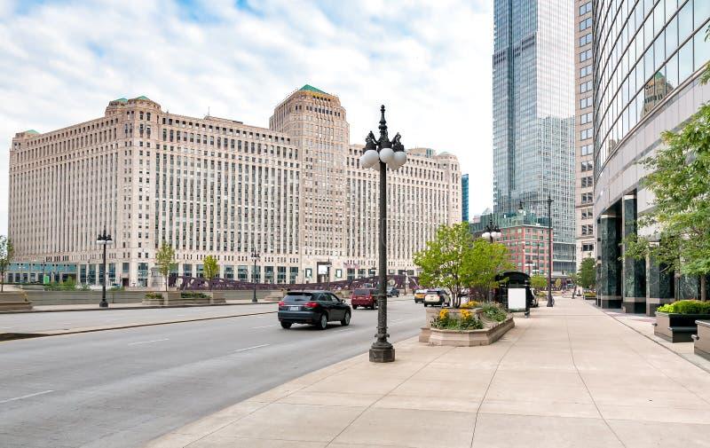 El centro comercial de mercancía, es un edificio comercial situado en el centro de la ciudad de Chicago imagen de archivo libre de regalías
