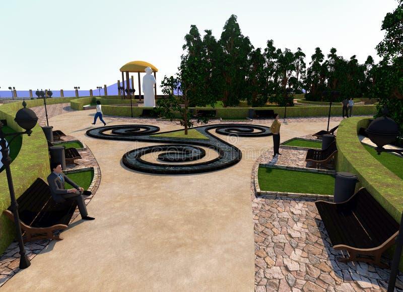 El centro del parque bajo la forma de triskelion, modelo c?ltico, gente en los bancos, fuente y arbustos stock de ilustración