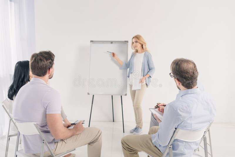 el centro envejeció a la mujer que señalaba en el whiteboard en blanco durante anónimo imagen de archivo