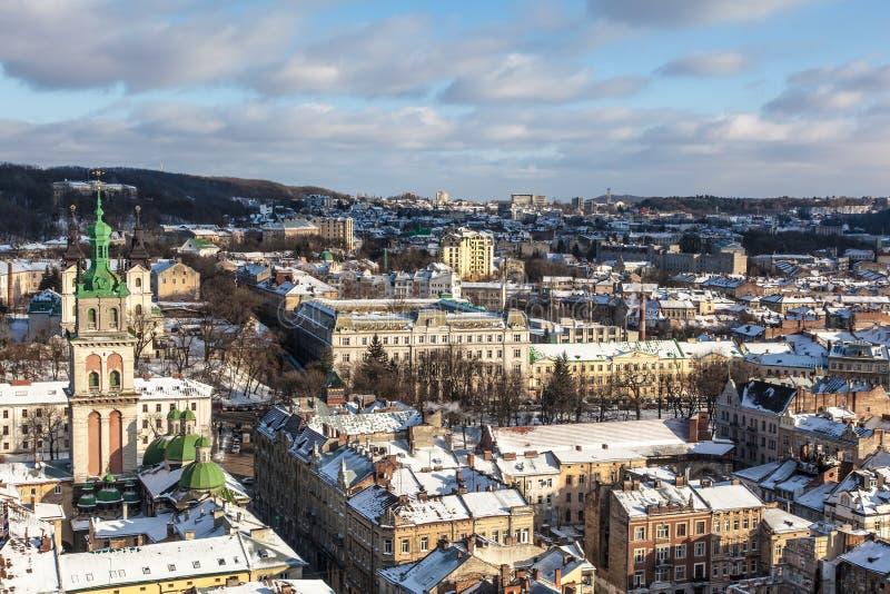El centro histórico de la ciudad de Lviv fotografía de archivo libre de regalías