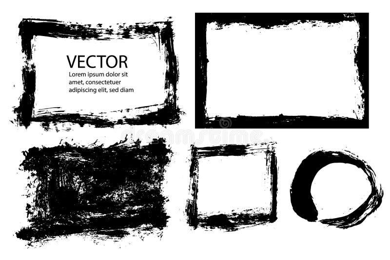 El cepillo abstracto del grunge frota ligeramente el marco con textura de los bordes ásperos Sistema del ejemplo EPS10 libre illustration