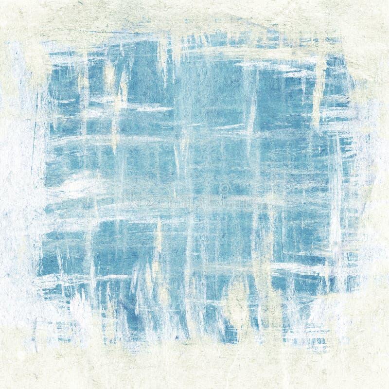 El cepillo abstracto frota ligeramente la pintura, el azul y el blanco ilustración del vector
