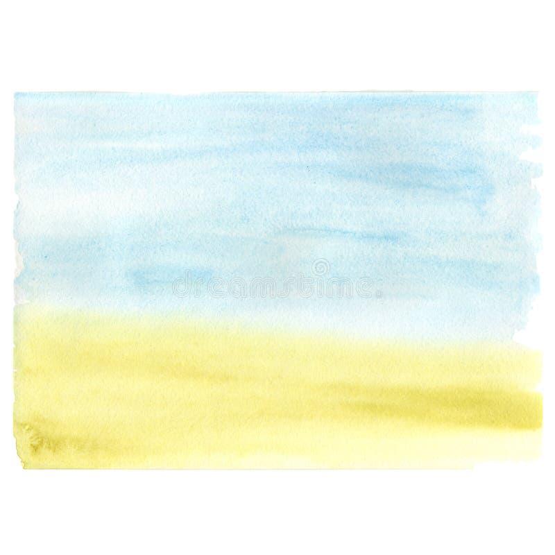El cepillo azul del arte y amarillo abstracto pintó el ejemplo texturizado acuarela del fondo Diseñe para la bandera del título,  libre illustration