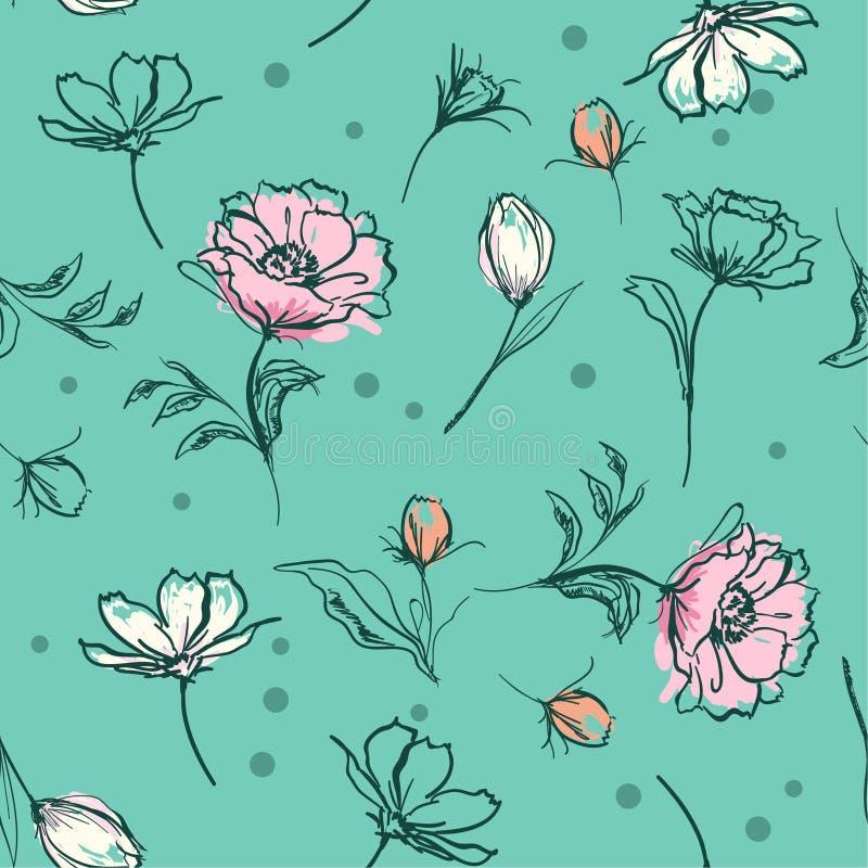 El cepillo botánico en colores pastel dulce de la mano de las flores frota ligeramente la línea bosquejo s stock de ilustración