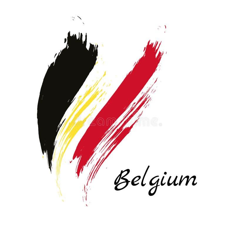 El cepillo colorido de Bélgica frota ligeramente el icono belga pintado de la bandera del país nacional Textura pintada ilustración del vector
