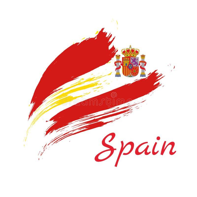 El cepillo colorido de España frota ligeramente el icono nacional pintado de la bandera de país Textura pintada libre illustration
