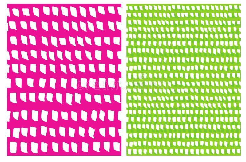 El cepillo corto simple raya el modelo del vector Puntos blancos aislados en un verde y un fondo rosado stock de ilustración