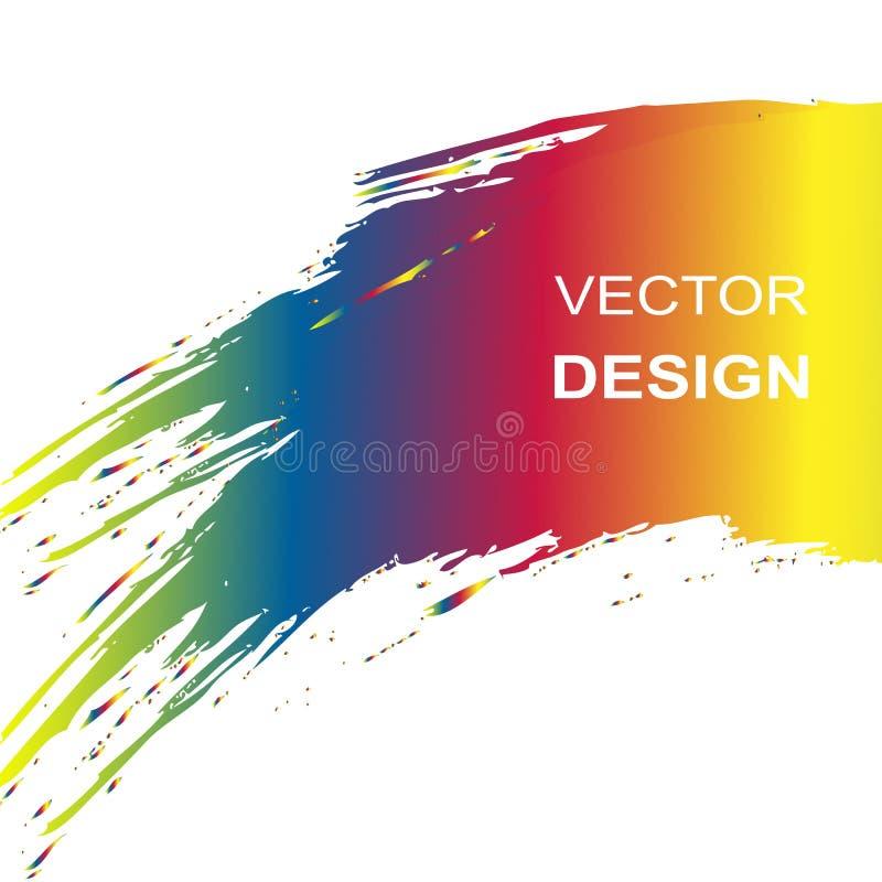 El cepillo de la acuarela del arco iris frota ligeramente el fondo Vector ilustración del vector