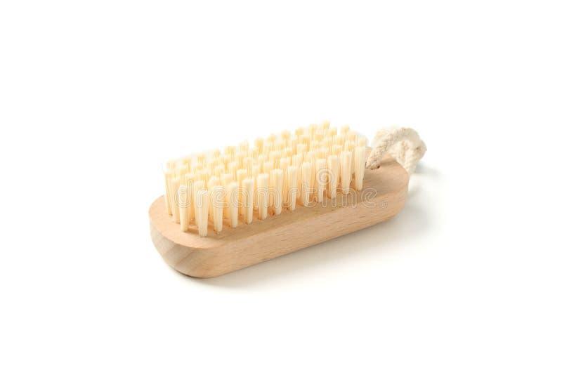 El cepillo de madera del baño aisló imagen de archivo