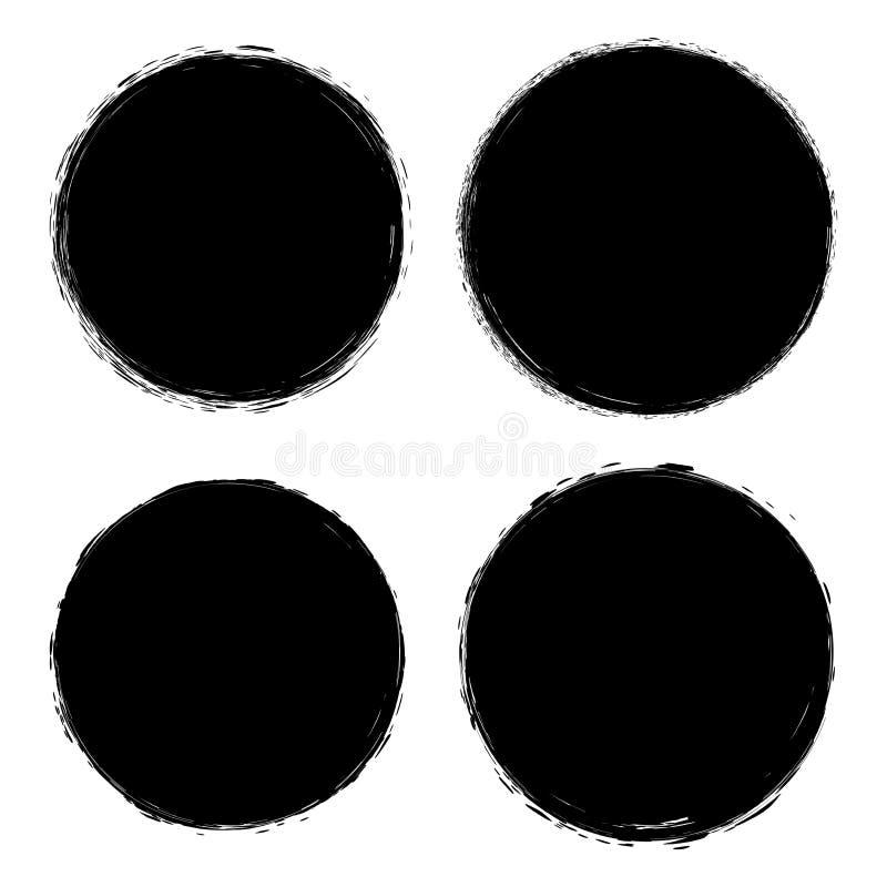 El cepillo del vector frota ligeramente fondos del grunge de los círculos libre illustration