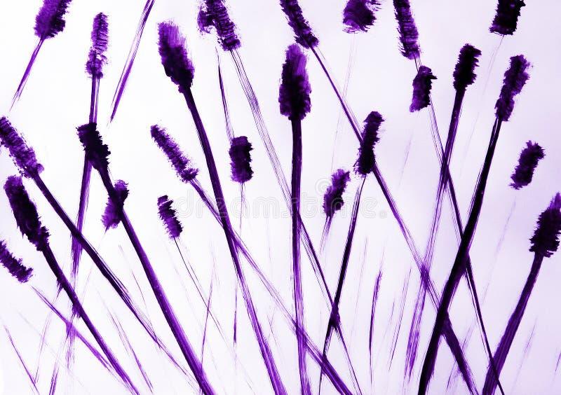 El cepillo dibuja las largas colas finas que se entrecruzan con uno a Sensación impresionante de crujir la alta hierba stock de ilustración